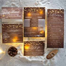 winter rustic stringlight and mason jar wedding invitations with belly band and tags SWPI026