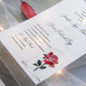 vintage beauty and the beast inspired UV printing wedding invitation on Vellum paper SWUV020
