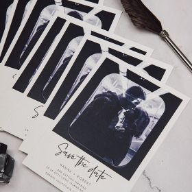 affordable black and white modern save the date photo cards SWTD004