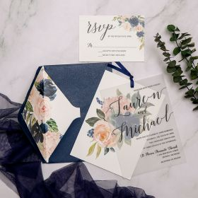 affordable navy blue and blush pink floral wedding invitations with vellum overlay SWPI108