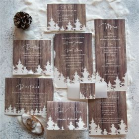 affordable winter barnwood pine tree wedding invitation with vellum paper belly band and tag SWPI016