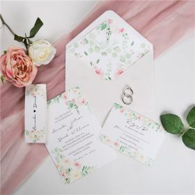 blush pink watercolor flower wedding invitation with matching belly band SWPI019