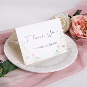 blush pink watercolor flower wedding thank you card SWPI019t