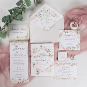 blush watercolor geometric frame floral wedding invitation with belly band SWPI020