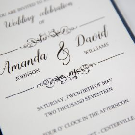 botanical navy blue  wedding invites with belly band SWWS031_3
