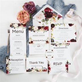 burgundy and blush floral wedding invite with belly band SWPI059