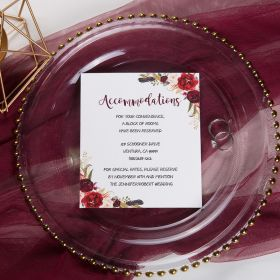 boho burgundy floral and feather wedding accommodation card SWPI012a