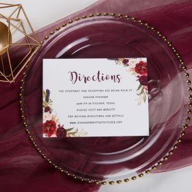 boho burgundy floral and feather wedding direction card SWPI012f