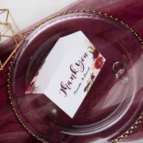 boho burgundy floral and feather wedding thank you card SWPI012t