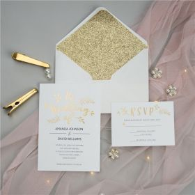 chic gold embossed foil wedding invitations SWFI006