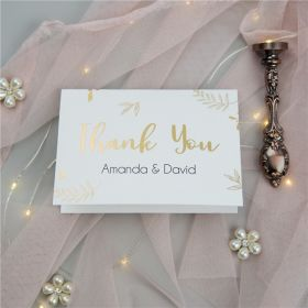 chic gold embossed foil wedding thank you card SWFI006t
