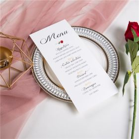 classic beauty and the beast inspired and red rose wedding menu cards SWPI015m