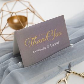 classic grey and gold foil MR & MRS wedding thank you cards SWFI002t