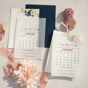 classic navy blue and blush floral calendar design overlay save the date cards SWTD016