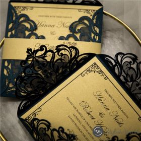 classic navy blue and gold laser cut wedding invitations with belly band SWWS122