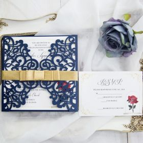 classic navy blue and rose laser cut wedding invitation cards SWWS073