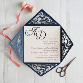 Navy Blue Laser Cut Pocket Wedding Invitations with Coral Colored Ribbon SWWS029