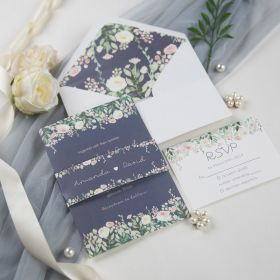 dusty blue and blush floral wedding invitations with belly band SWPI022