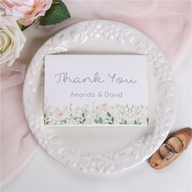 dusty blue and blush floral wedding thank you card SWPI022t