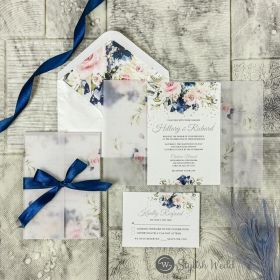 elegant navy blue and blush pink floral wedding invitations with matching vellum floral jacket SWPI095