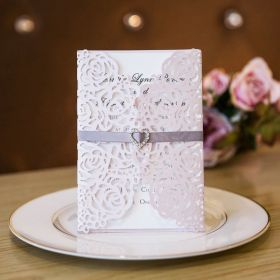 Elegant Vintage Blush Floral Trifold Laser Cut Invitations With Ribbon And Heart Crystal SWWS024