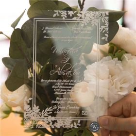 exquisite floral acrylic wedding invitations SWAL005