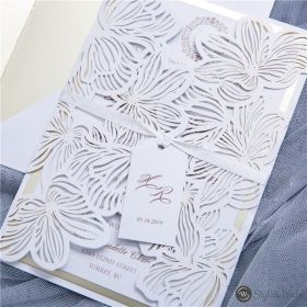 exquisite flower laser cut wedding invitations with matt champagne backers and tags SWWS105