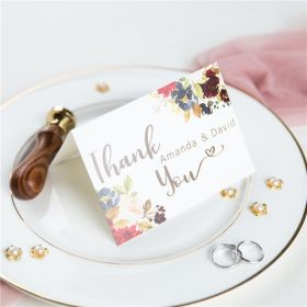 burgundy and navy flower bloom wedding thank you cards SWPI048t