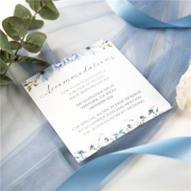 french blue and periwinkle watercolor flower wedding accommodation card SWPI036a