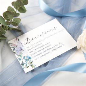 french blue and periwinkle watercolor flower wedding direction card SWPI036f