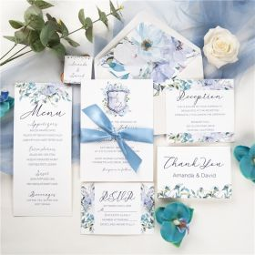 french blue and periwinkle watercolor flower in  shield shape wedding invitations with silk ribbon SWPI036