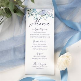 french blue and periwinkle watercolor flower wedding menu card SWPI036m