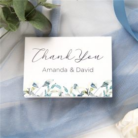 french blue and periwinkle watercolor flower wedding thank you card SWPI036t