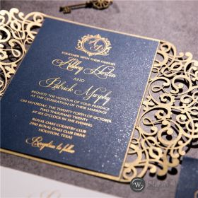 gold laser cut wedding invitation with gold hot foil printed on navy blue cardstock SWWS123