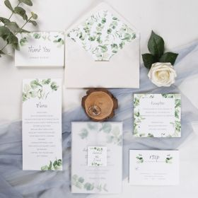 greenery eucalyptus wedding invitation with vellum paper belly band and tag SWPI010