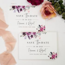 Jean's bouquet – pink and purple floral save the date cards SWTD008