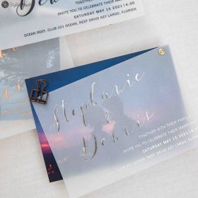 Luxury custom photo wedding invitation with rose gold/gold/silver foil vellum paper layered SWVL002