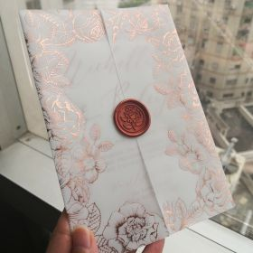 luxury rose gold foil floral vellum jacket wedding invitation with rose wax seal SWPI103