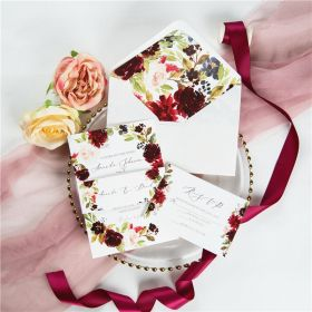 marsala peach and navy flower bloom wedding invitation with belly band SWPI049
