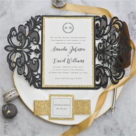 modern black laser cut wedding invitations with glittery belly band and tag SWWS100