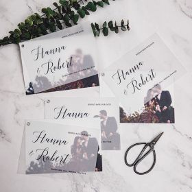 modern chic save the date card with a romantic photo layer SWTD005