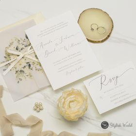 modern ivory floral wedding invitations with vellum wrap and ribbon SWPI125