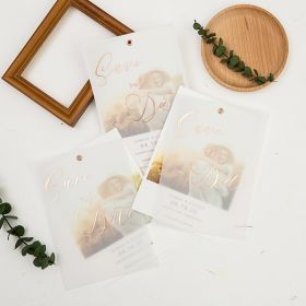 modern save the date with engagement photo and rose gold vellum overlay SWTD020
