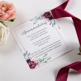 navy and raspberry floral wedding accommodation cards SWPI032a
