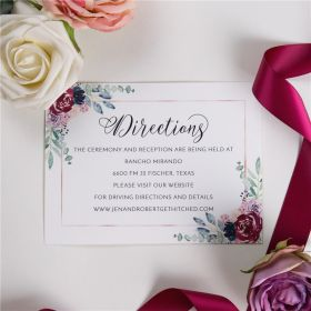 navy and raspberry floral wedding direction cards SWPI032f
