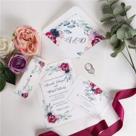 navy and raspberry floral wedding invitations with belly band SWPI032