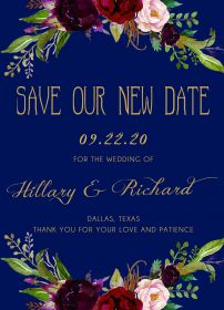 navy blue and marsala floral postpone wedding announcement cards SWPI004C