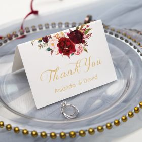 navy blue and marsala floral thank you card SWPI004t