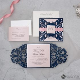 navy blue symmetrical lace laser cut wedding invitations with blush pink ribbon and tags SWWS109