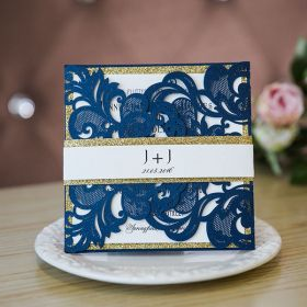navy laser cut wedding invitations with glittery layers and belly bands SWWS072